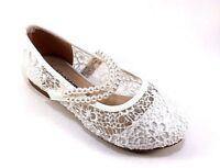 De Blossom Girl T-Lili-10 White Satin Rhinestone Round Toe Mary Jane Dress Flats