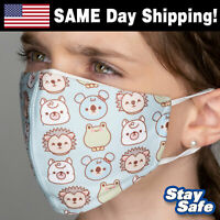 CHILD size Kawaii Animals Face Mask –INCLUDES 2 FILTERS –30+ Custom Kids Designs