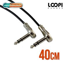 "40cm 1/4"" Stereo Pancake Right Angle Effect Patch TRS Lead - Van Damme Cable"