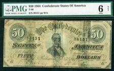 1864 CONFEDERATE STATE OF AMERICA $50 RICHMOND,VIRGINIA NOTE PMG GOOD 6*