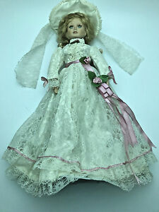 GSO 18003 blue eyed porcelain bride doll Southern style dress bridal hat RNC0206