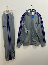 Adidas Originals ADI-Firebird Tracksuit Grey Purple Jacket Size L, Pants Size M