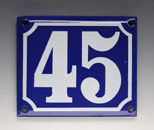 ALTE EMAIL EMAILLE HAUSNUMMER 45 in BLAU/WEISS um 1960