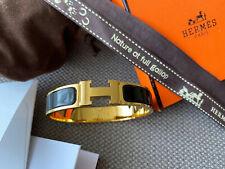 Classic Hermes Clic Clac Bracelet BLACK Enamel Gold Hardware PM Narrow Bangle