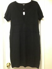 Talbots Black Pure Merino Wool Knit Sweater Short Sleeve Dress Sz X 12W NWT $169