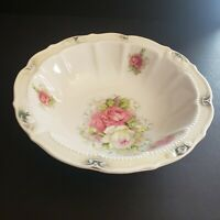 Vintage China Serving Bowl with Floral Design 9.5 inches