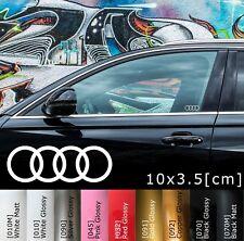 2x AUDI Logo Rings Car Door Sticker A3 TT A4 A5 A6 A7 Aufkleber Tür 10x3.5 cm