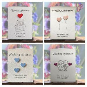 Wedding Invitations / Evening Invites Personalised & Handmade with Envelopes