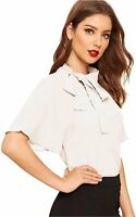 SheIn Women's Casual Side Bow Tie Neck Short Sleeve Blouse, White, Size Large HI
