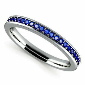 0.50 Ct Real Blue Sapphire Hallmarked 14K White Gold Eternity Band Size M N J I
