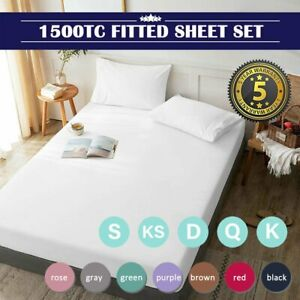 1500TC Ultra Soft Deep Fitted Sheet Set Pillowcases Single/Double/Queen/King Bed