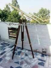 "39"" VINTAGE BRASS DOUBLE BARREL GRIFFITH ASTOR TELESCOPE WITH TRIPOD STAND solid"