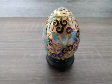 Vintage Chinese Cloisonne ENAMELED Brass EGG on Wooden stand