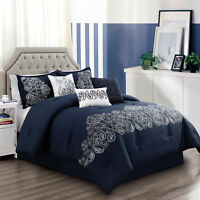 Chezmoi Collection Linz 7-Piece Paisley Floral Scroll Embroidered Comforter Set