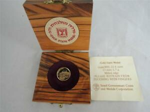 Israel 1987 Ship Exodus-1947 13mm 1.7g Gold 900 + Olive Wood Box + COA