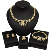 #54 HUGS & KISSES xo set teddy bear necklace bracelet ring earrings 18k Layered