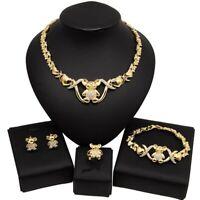 #54 HUGS & KISSES xo set teddy bear necklace bracelet ring earrings 18k Layered