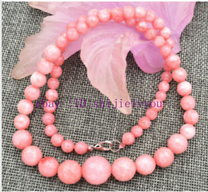 """18"""" AAA Fashion 6-14mm pink Rhodochrosite Faceted Tower type necklace"""