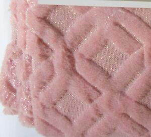 "Celebrity Diamond Pattern Throw Blanket 50"" x 60"" Faux Fur Pink Silver Glitter"