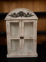 """Shabby Chic Curio Cabinet Glass Display for Special Small Treasures 24.5"""" tall"""