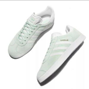 Adidas Originals Gazelle Ice Mint Womens Sz 9 Trefoil Green Gold White ba9599