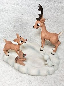 RARE Rudolph The Red Nosed Reindeer Fun In A Bumble Print Figurine Enesco 2002