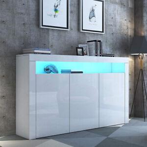 Sideboard Kommode Anrichte Weiß Hochglanz Wohnzimmer Schrank mit LED Beleuchtung