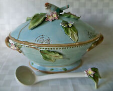 Fitz and Floyd ~ Toulouse Tureen with Ladle Birds Butterfly Blue New w/ Box