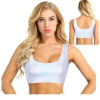 Silver Holographic Women Crop Top Rave Punk Tank Top Shirt Short Vest Club Dance