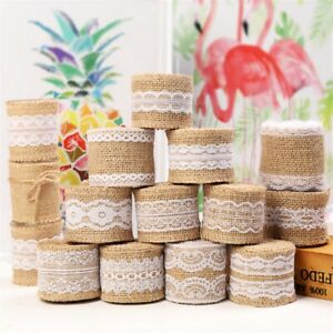 2Meter/roll Natural Jute Burlap Ribbon Hessian Lace Jute Roll For Wedding Decor