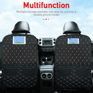 2PC Pu Leather Car Seat Anti-Kick Protector Storage Mats For Children Kid Baby