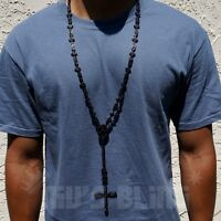 Jet Black Onyx CZ Out Iced ROSARY SHAPES Jesus Cross Pendant Mens Necklace Chain