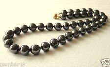 "Grey Hematite 10mm Necklace 16"" Hand Knotted Haematite 10 mm Beads UNISEX"