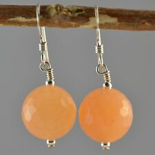 Sterling Silver Pale Orange Carnelian Faceted 12mm Round Earrings