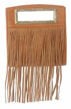 Nila Anthony Leather Suede Fringe Purse Handbag in Brown and Gold