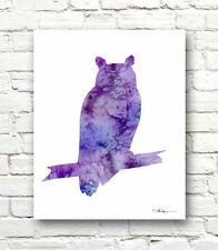 Owl Abstract Watercolor Painting 11 x 14 Art Print by Artist DJ Rogers