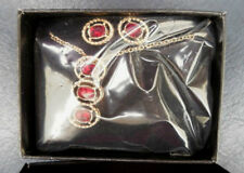 AVON 'NRT' Red and Gold Rope Detail Drop Pendant Necklace and Earring Set BNWB