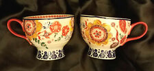 4 Lovely Fabrique En Chine Coffee Tea Mug Hand Painted Orange Blue Yellow Floral