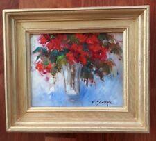 EVA SZORC 2013 Still Life Painting Original Oil On Canvas Red Flowers In Vase