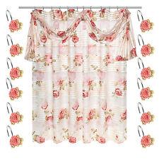 Popular Bath Madeline Beige Collection Fabric Shower Curtain & Hook Set