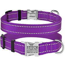 Reflective Dog Collar Safety Personalized Nylon Collars for Dogs Puppy S M L