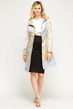 Womens Multi Patchwork Mac Jacquard Pink Blue Beige Pocket Satin New Jacket Coat