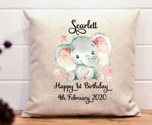Personalised 1st birthday gift baby girl cushion elephant name date
