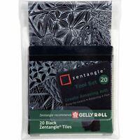 Sakura Gelly Roll Zentangle - 89x89mm Tiles Set - Black - Pack of 20