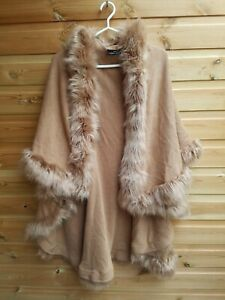 Ladies Light Brown Fine Knit & Fur Faux Coatigan, Shawl Cape One Size up to 24