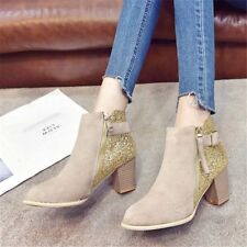 Sexy Women's Suede Ankle Boots Sequins Chelsea Casual Zip Shoes Chunky Slip on