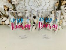 lot of 2 Shatterproof Plastic Wine Glass Unbreakable Stemless Cups
