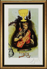 Salvador Dali Authentic Color Lithograph Hand Signed King Of Cups Original Art