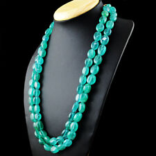 704.00 Cts Earth Mined Oval Shape 2 Strand Green Emerald Beads Handmade Necklace