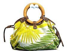 Fossil Handbag Satchel Bag Purse Brown green FLORAL Canvas WOODEN HANDLES